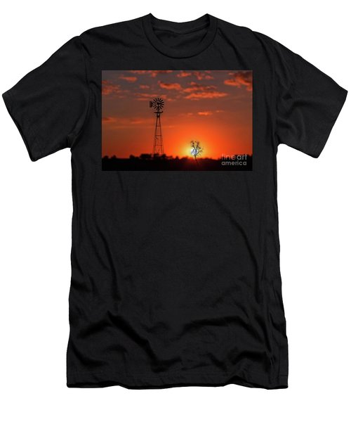 Windmill At Sunset Men's T-Shirt (Athletic Fit)