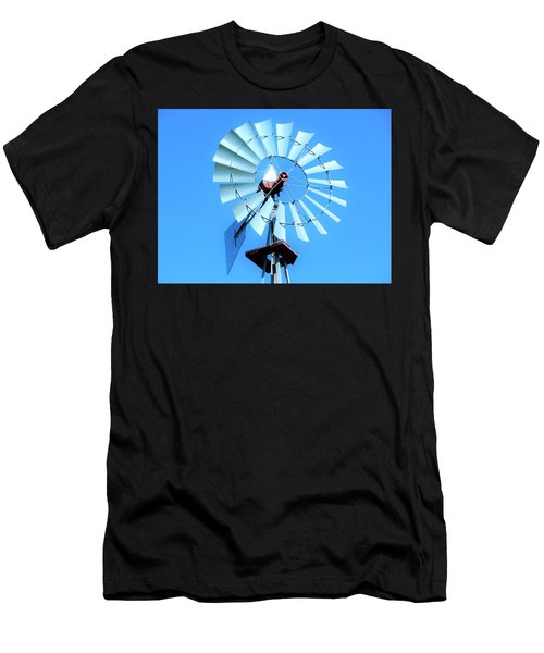 Men's T-Shirt (Slim Fit) featuring the photograph Windmill - Bright Sunny Day by Ray Shrewsberry
