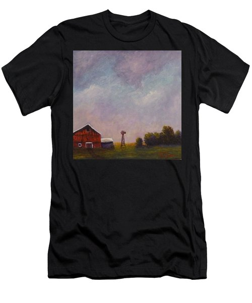 Windmill Farm Under A Stormy Sky. Men's T-Shirt (Athletic Fit)