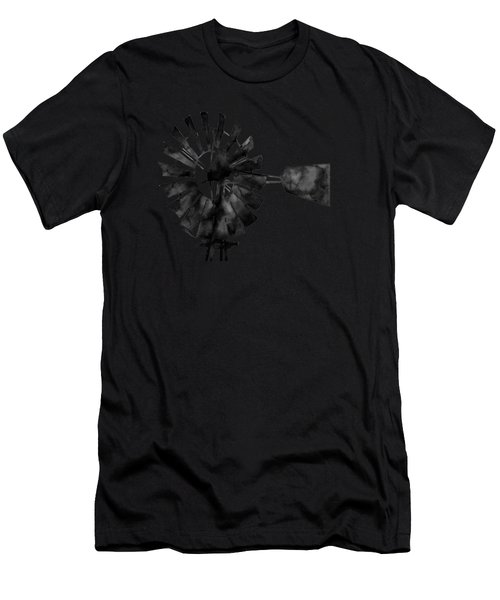 Windmill In Black And White Men's T-Shirt (Athletic Fit)