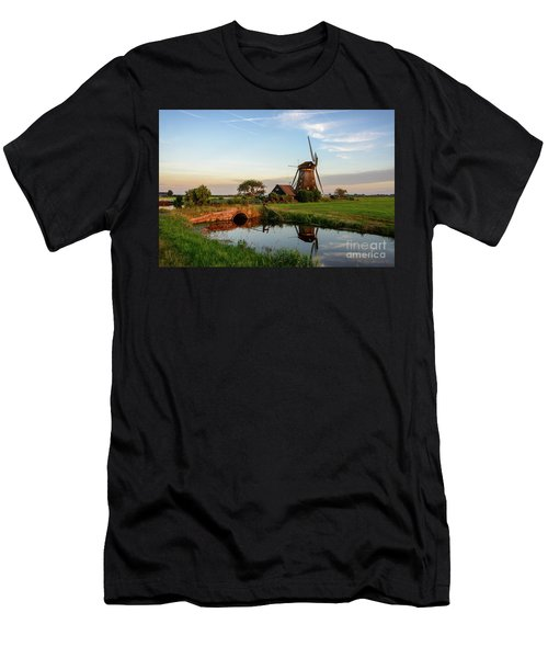 Men's T-Shirt (Athletic Fit) featuring the photograph Windmill In The Countryside In Holland by IPics Photography