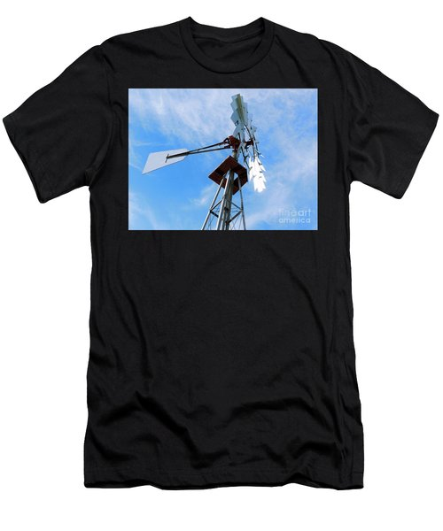 Men's T-Shirt (Slim Fit) featuring the photograph Windmill - Mildly Cloudy Day by Ray Shrewsberry