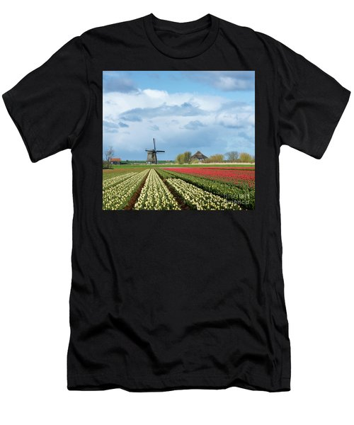 Men's T-Shirt (Athletic Fit) featuring the photograph Windmill With Tulip Flower Fields In The Countryside by IPics Photography