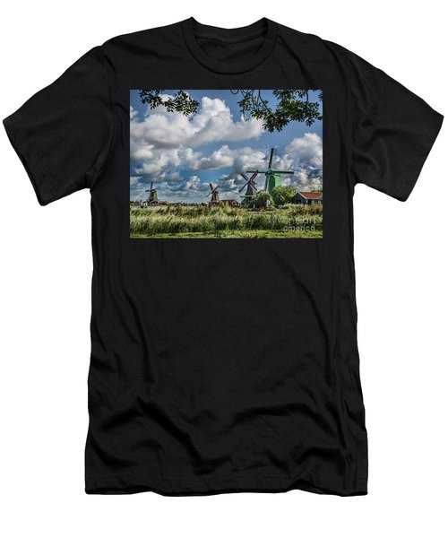 Windmills Of Holland Men's T-Shirt (Slim Fit) by Shirley Mangini