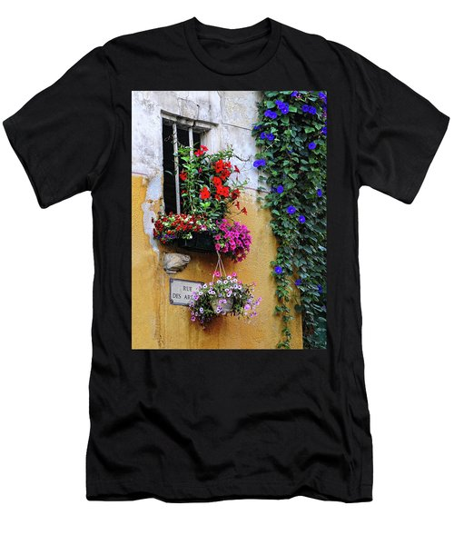 Window Garden In Arles France Men's T-Shirt (Slim Fit) by Dave Mills