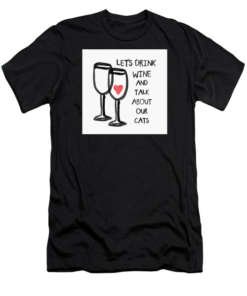 Wine And Cats- Art By Linda Woods Men's T-Shirt (Slim Fit) by Linda Woods