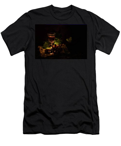 Wine Glass And Grapes Men's T-Shirt (Athletic Fit)