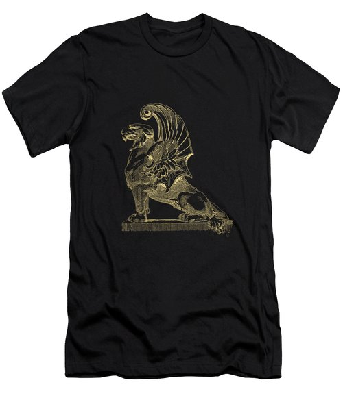 Men's T-Shirt (Slim Fit) featuring the digital art Winged Chimera From Theater De Bellecour, Lyon, France, In Gold On Black by Serge Averbukh