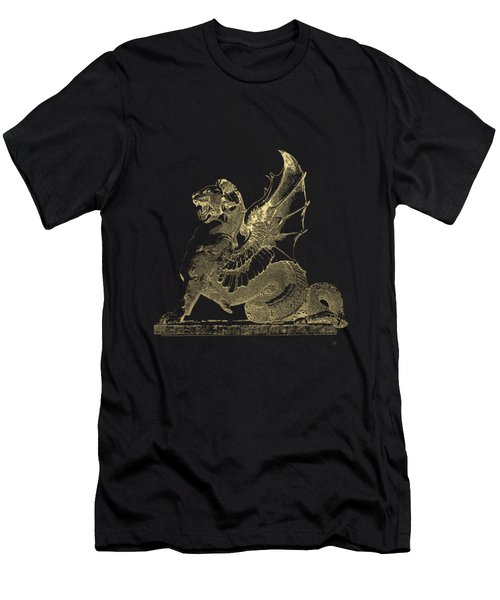 Men's T-Shirt (Slim Fit) featuring the digital art Winged Dragon Chimera From Fontaine Saint-michel, Paris In Gold On Black by Serge Averbukh