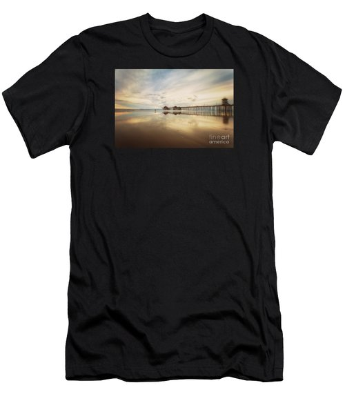 Winter At Huntington Beach Pier Men's T-Shirt (Athletic Fit)
