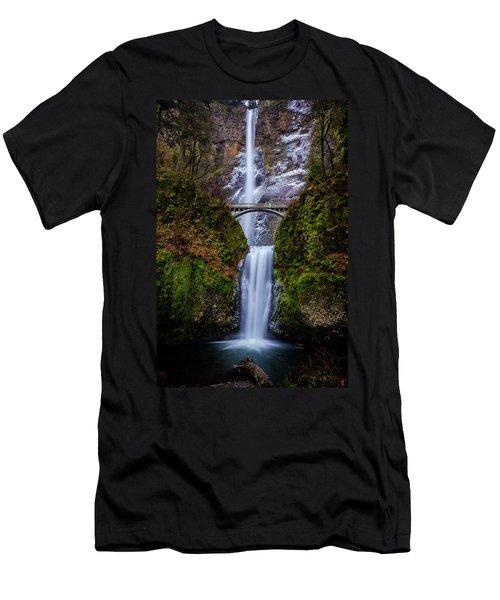 Winter At Multnomah Falls 2 Men's T-Shirt (Athletic Fit)