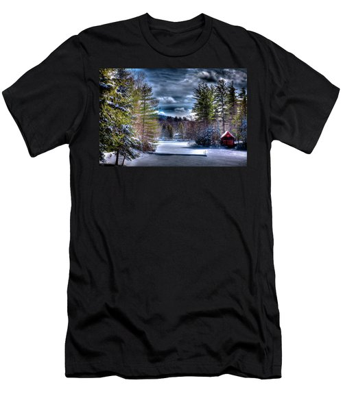 Men's T-Shirt (Slim Fit) featuring the photograph Winter At The Boathouse by David Patterson