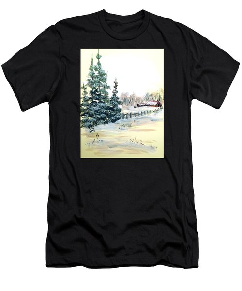 Winter Comes At The Farm  Men's T-Shirt (Athletic Fit)
