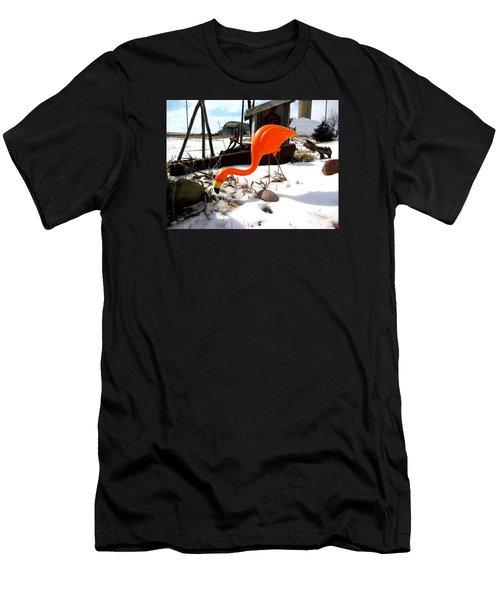 Winter Flamingo Men's T-Shirt (Slim Fit)