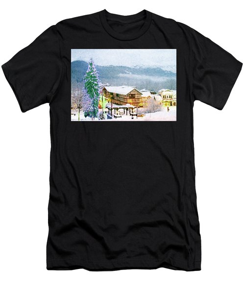 Winter Holiday In The Village Men's T-Shirt (Athletic Fit)