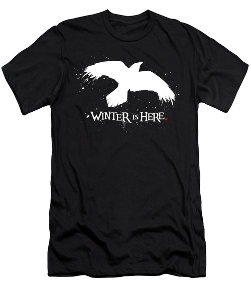 Winter Is Here - Large Raven Men's T-Shirt (Athletic Fit)