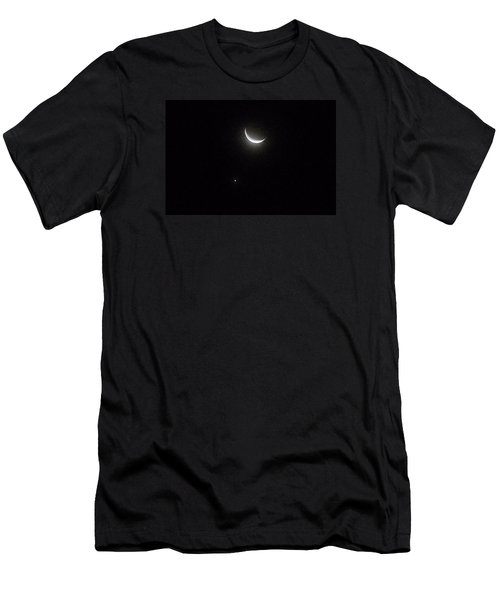 Men's T-Shirt (Slim Fit) featuring the photograph Winter Moon Venus Star by Deborah Moen