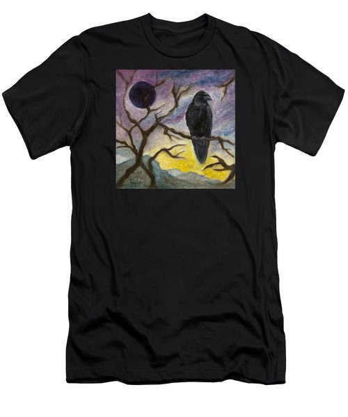 Winter Moon Raven Men's T-Shirt (Slim Fit) by FT McKinstry