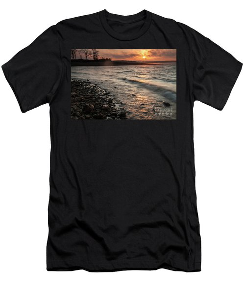 Men's T-Shirt (Slim Fit) featuring the photograph Winter Morning At The Vetran's Lake by Iris Greenwell