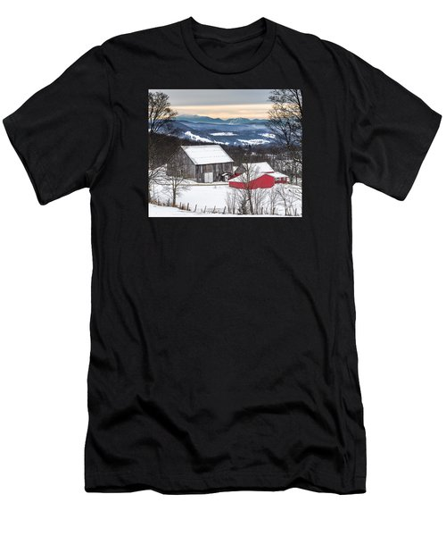 Winter On The Farm On The Hill Men's T-Shirt (Athletic Fit)