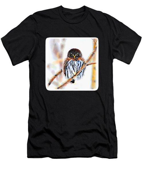 Winter Owl Watercolor Men's T-Shirt (Athletic Fit)