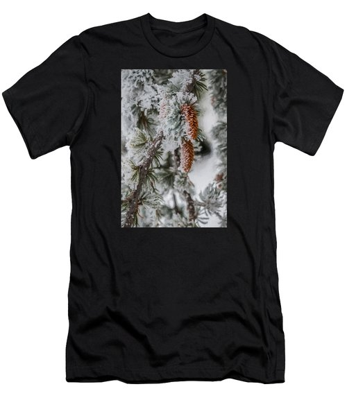 Men's T-Shirt (Athletic Fit) featuring the photograph Winter Pine Cones by Lou Novick