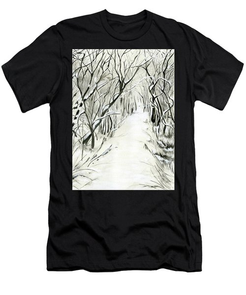 Men's T-Shirt (Slim Fit) featuring the painting Winter Scene by Nadine Dennis