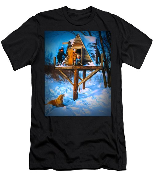 Winter Scene Three Kids And Dog Playing In A Treehouse Men's T-Shirt (Athletic Fit)