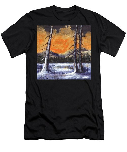 Men's T-Shirt (Athletic Fit) featuring the painting Winter Solitude #2 by Anastasiya Malakhova