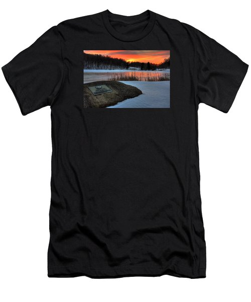 Winter Sunset Abbott Lake Men's T-Shirt (Slim Fit) by Steve Hurt
