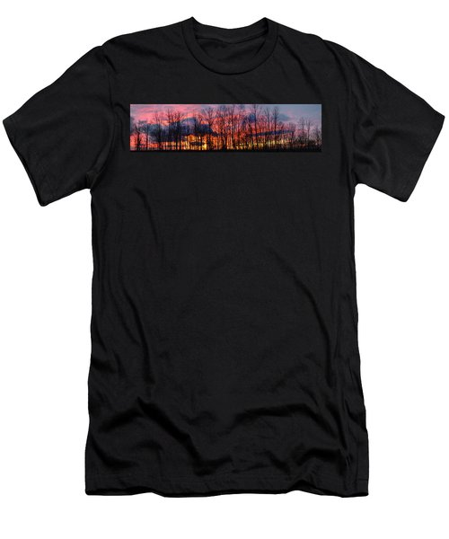Men's T-Shirt (Slim Fit) featuring the photograph Winter Sunset Panorama by Francesa Miller