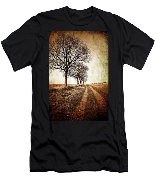Winter Track With Trees Men's T-Shirt (Athletic Fit)