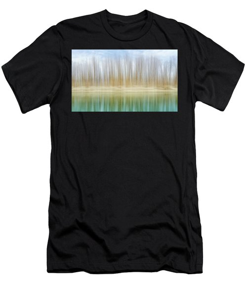 Winter Trees On A River Bank Reflecting Into Water Men's T-Shirt (Athletic Fit)