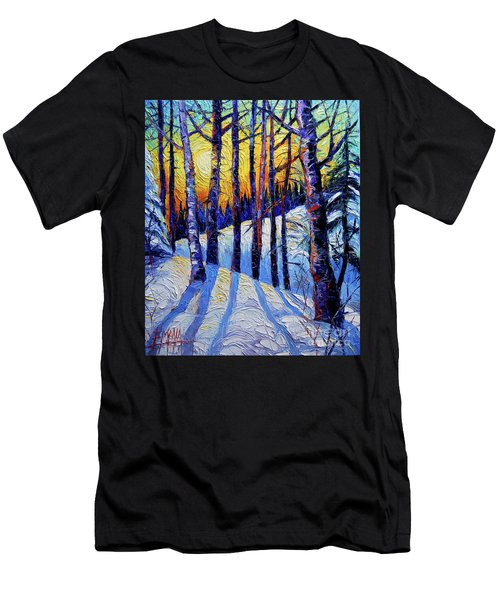 Winter Woodland Sunset Modern Impressionism Palette Knife Oil Painting Men's T-Shirt (Athletic Fit)