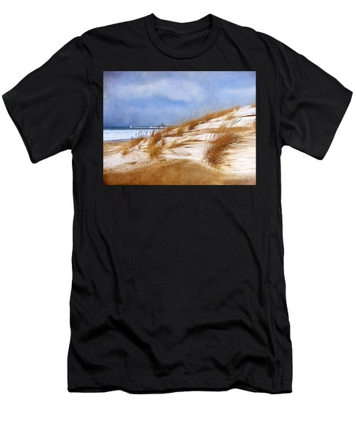Wintertime St. Joe Lighthouse  Men's T-Shirt (Athletic Fit)