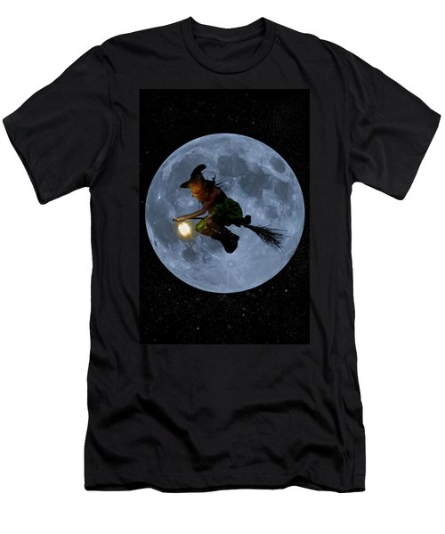 Witch Flying At Full Moon. Men's T-Shirt (Athletic Fit)