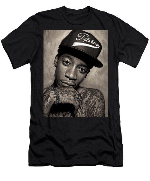 Men's T-Shirt (Slim Fit) featuring the painting Wiz Khalifa Artwork  by Sheraz A