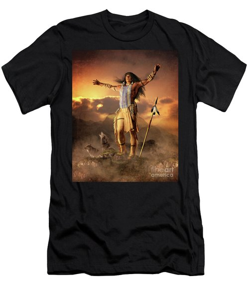 Men's T-Shirt (Slim Fit) featuring the mixed media Wolf Clan by Shanina Conway