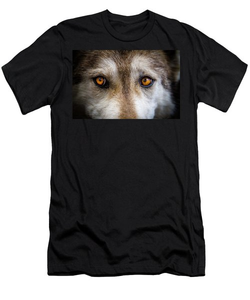Men's T-Shirt (Slim Fit) featuring the photograph Wolf Eyes by Teri Virbickis