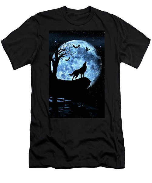 Wolf Howling At Full Moon With Bats Men's T-Shirt (Athletic Fit)