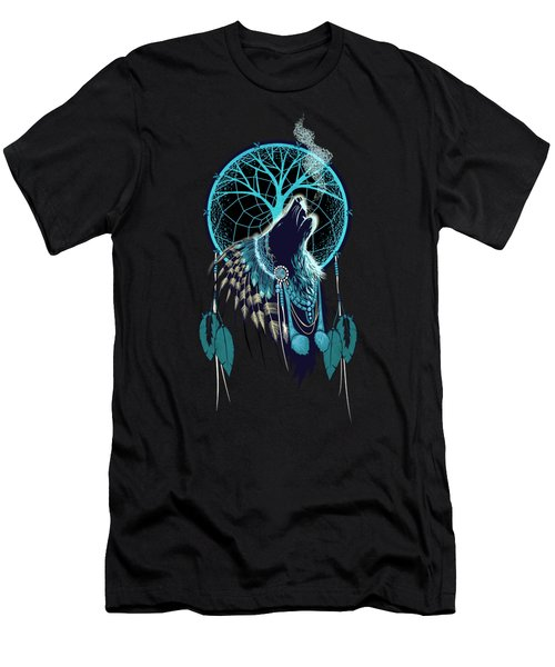 Wolf Indian Shaman Men's T-Shirt (Athletic Fit)