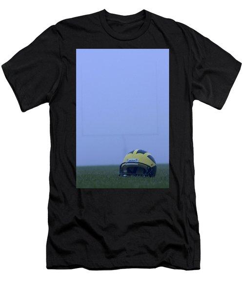 Wolverine Helmet On The Field In Heavy Fog Men's T-Shirt (Athletic Fit)