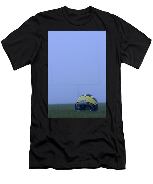 Wolverine Helmet On The Field In Heavy Fog Men's T-Shirt (Athletic Fit)