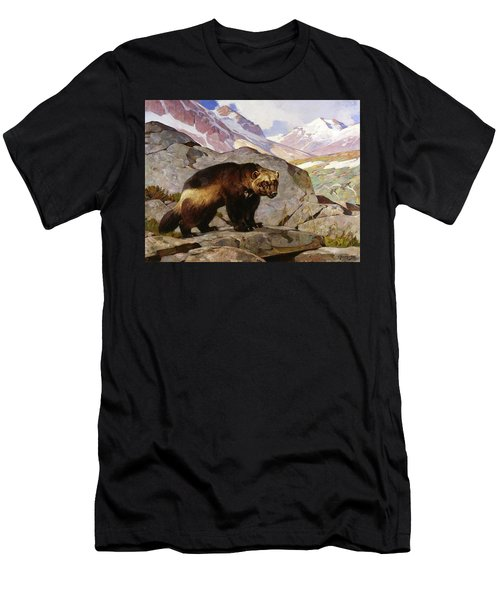 Wolverine In A Rocky Mountain Landscape, Alberta Men's T-Shirt (Athletic Fit)