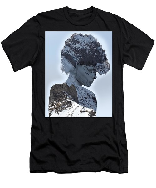 Woman And A Snowy Mountain Men's T-Shirt (Athletic Fit)