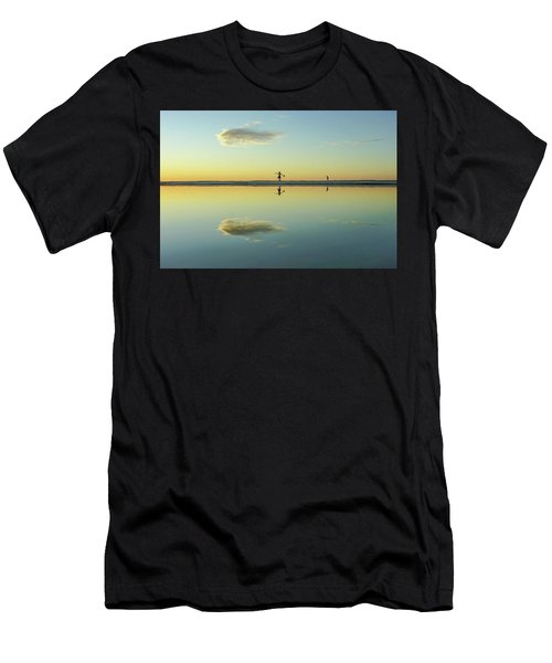 Woman And Cloud Reflected On Beach Lagoon At Sunset Men's T-Shirt (Athletic Fit)