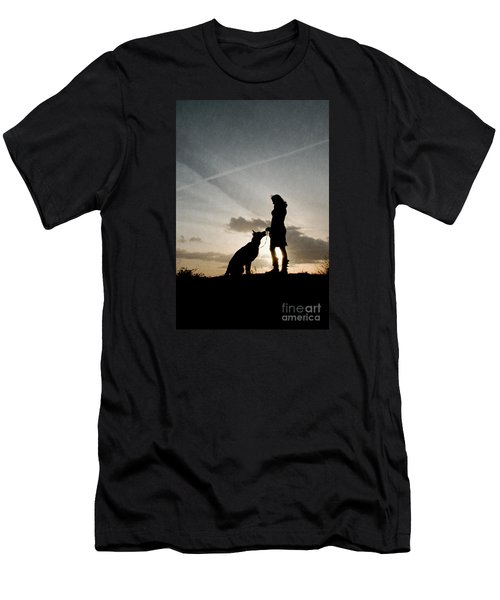 Woman And Dog  Men's T-Shirt (Athletic Fit)