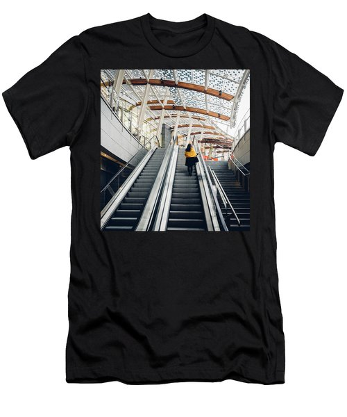 Woman Going Up Escalator In Milan, Italy Men's T-Shirt (Athletic Fit)