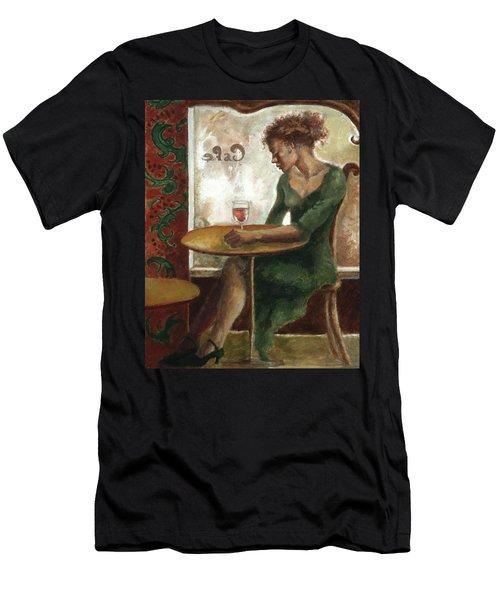 Woman In A Paris Cafe Men's T-Shirt (Athletic Fit)
