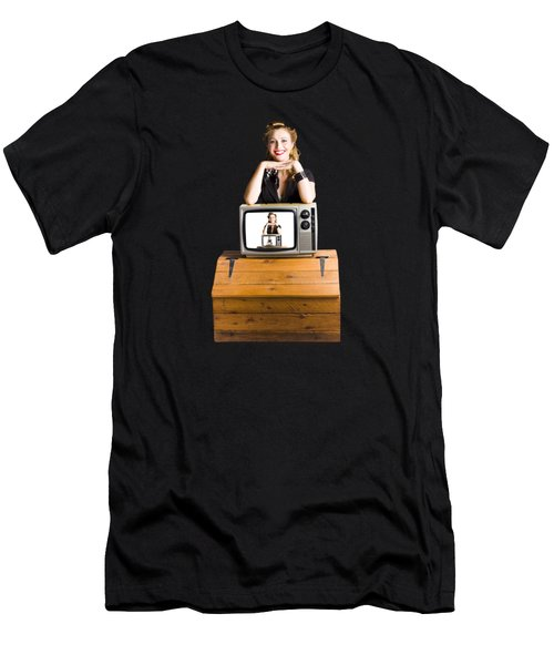 Woman  In Front Of Tv Camera Men's T-Shirt (Athletic Fit)